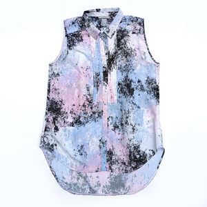 H&M Pink and Blue Sleeveless Button Down Hi-Lo Top